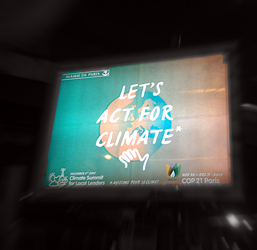 Publicité pour la Cop21. Photo: PHB/Coopetic
