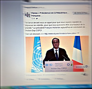 L'intervention de François Hollande postée sur Facebook. Photo: PHB/LSDP