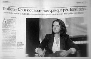 Cécile Duflot dans le Monde daté 16 décembre. Photo: PHB/Coopetic
