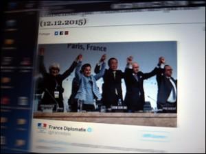 Accord conclu à la Cop21 sur le site du ministère des affaires étrangères. Photo: PHB.Coopetic