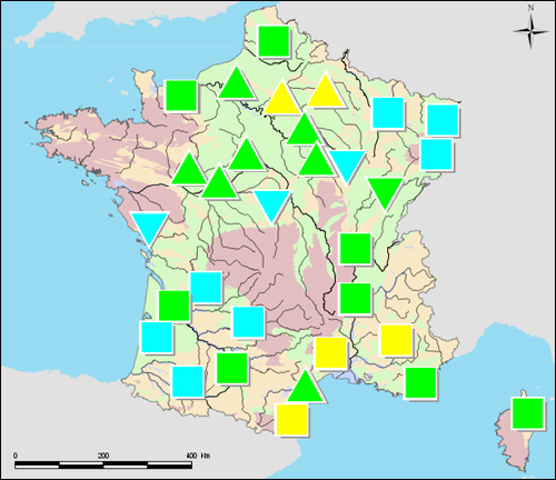 La carte de situation publiée cette semaine par le BRGM. Les points signalés en vert ou en bleu traduisent une situation satisfaisante.